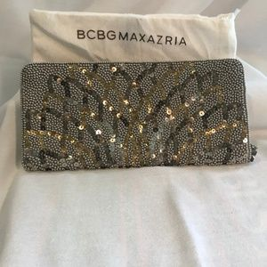BCBG Maxazria Sequin Metallic Pouch Clutch